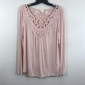 {Anthro} Meadow Rue Bobbinlace Pink Long Sleeve